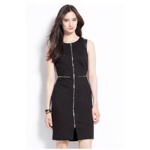 Ann Taylor Zip Ponte Black Sheath Dress 12